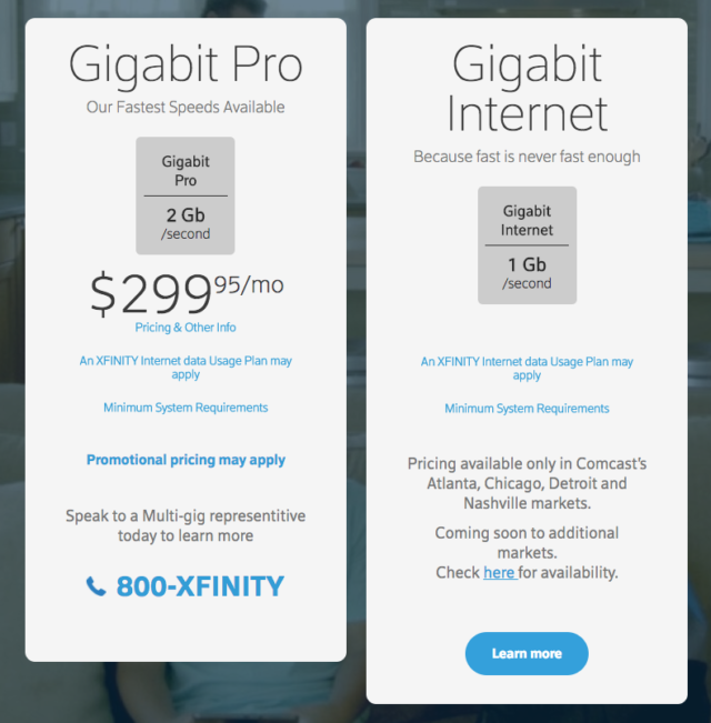 Comcast's gigabit Internet price page is pretty vague.