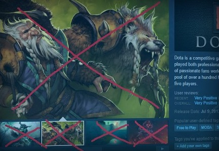 Valve used its own <i>Dota 2</i> concept art as an example of what is no longer allowed on Steam store pages.