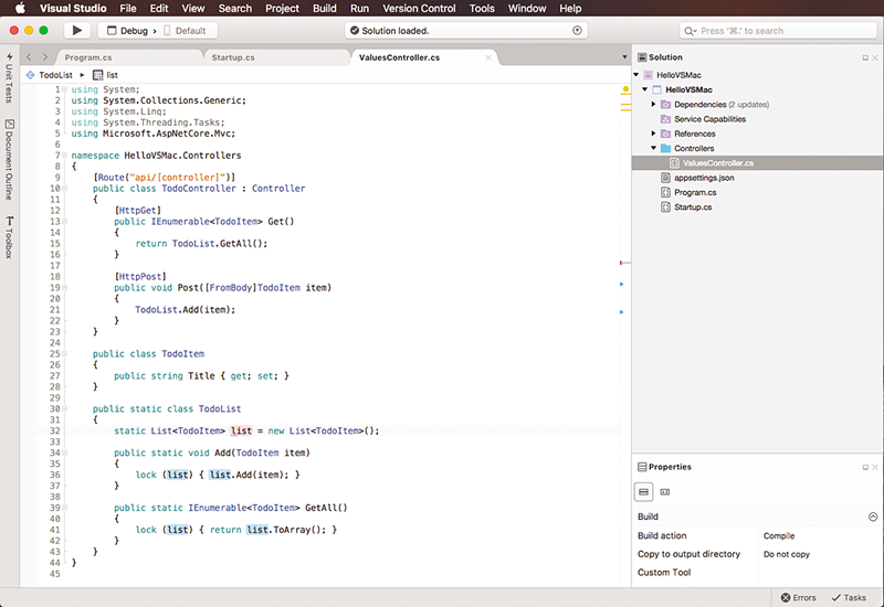 Visual Studio for Mac.