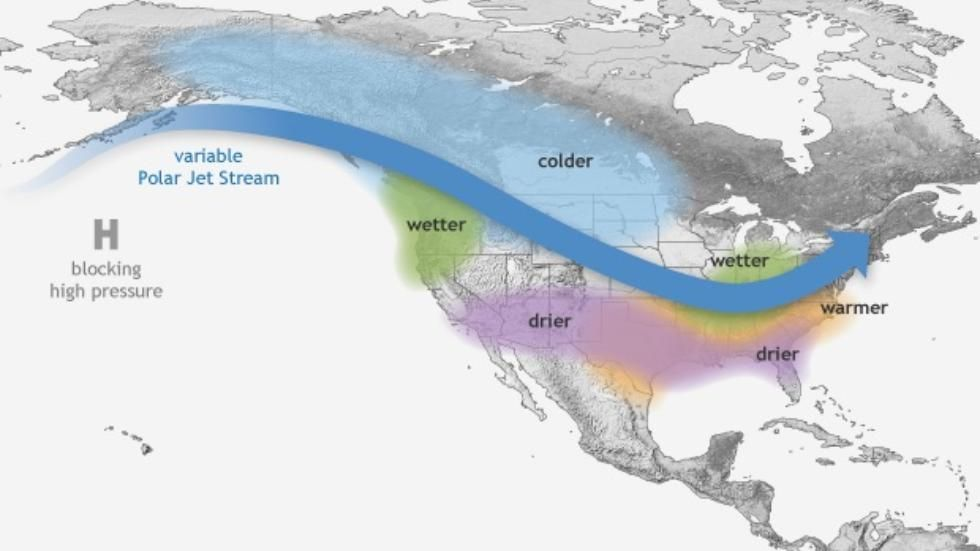 Typical weather patterns during a La Niña winter.