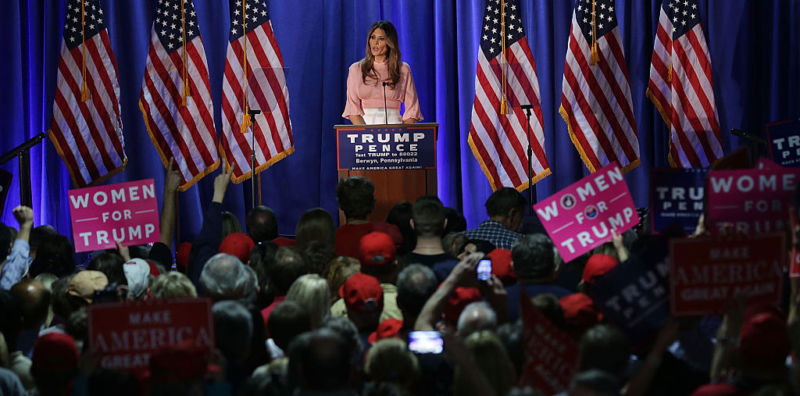 Melania Trump, wife of Republican presidential nominee Donald Trump, speaks to supporters in Berwyn, Pennsylvania.