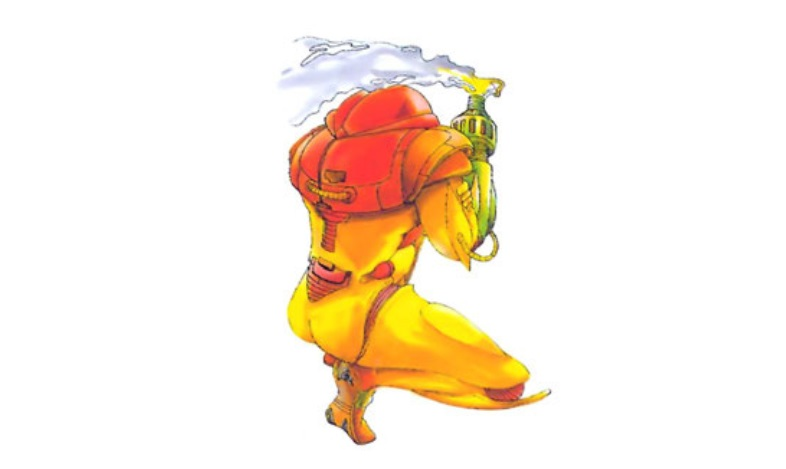 Samus Aran poses for the back page of the Japanese <em>Metroid</em> manual.