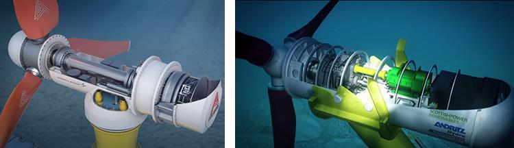 """""""Atlantis' AR1500 turbine (left) and AHH's HS1000 turbine (right)."""""""