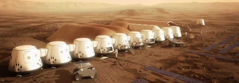 An expanded settlement on Mars in the late 2020s, as envisioned by Mars One.