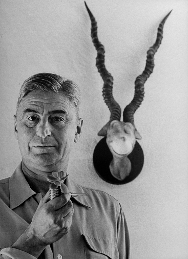 Theodor Seuss Geisel in 1959. He's holding a plant-sprouting corncob pipe as he stands in front of his 1940 sculpture of the Blue-Green Abelard hanging on the wall at his home.