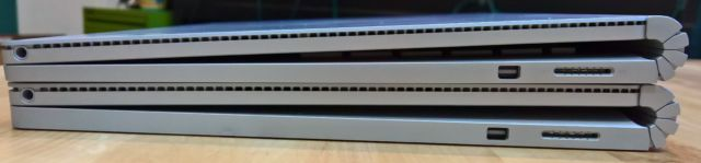 Top: regular Surface Book; Bottom: Surface Book with Performance Base.