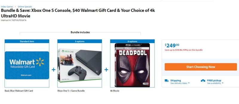 Walmart is practically throwing free stuff at you to get you to buy an Xbox One S.
