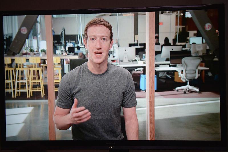 Mark Zuckerberg speaks via satellite during Facebook Social Good Forum on November 17, 2016 in New York City.