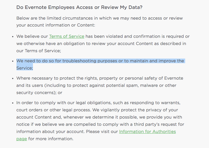"Evernote spells out when its employees can read your notes. You cannot opt out. The highlighted phrase, with vague wording about ""troubleshooting,"" is what has concerned users."