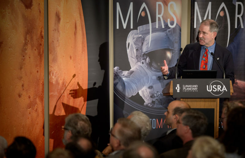 John Grunsfeld, then the associate administrator of NASA's Science Mission Directorate, speaks at a Mars conference in October, 2015.