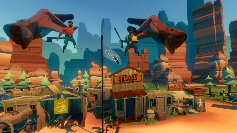 Use your PlayStation Move wands to pick up settlers in <em>Dino Frontier</em>.