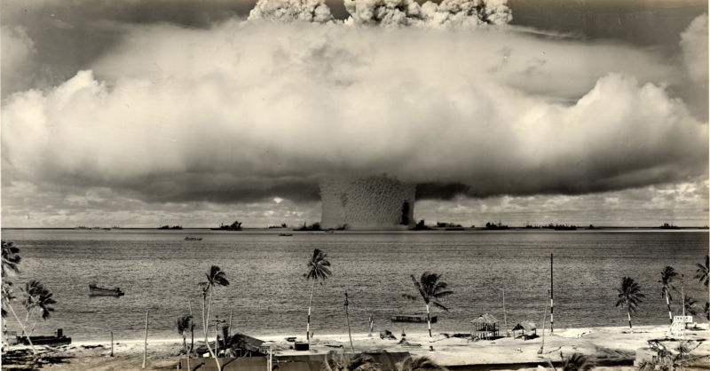 Nuclear testing at Bikini Atoll in the 1940s. That's a scene some of us would rather not revisit in the near future.