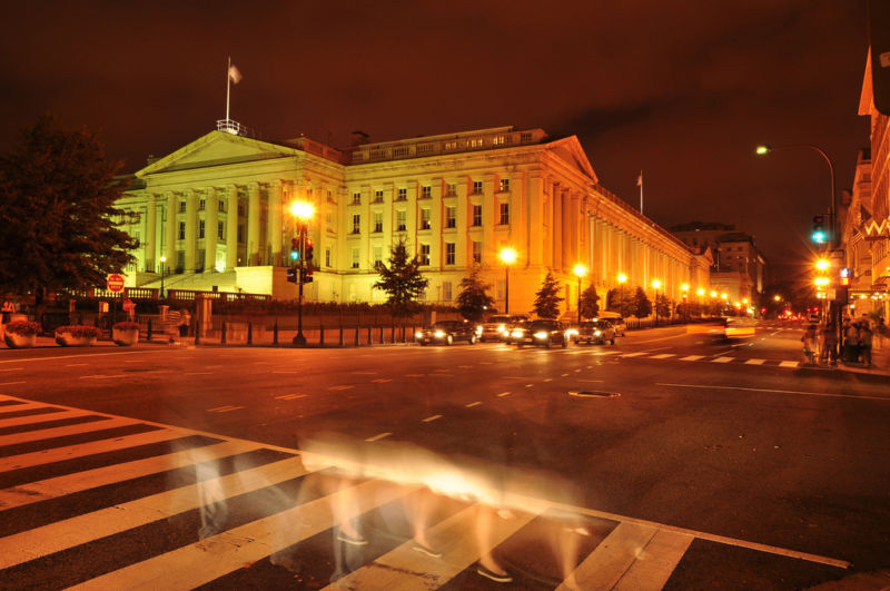 The United States Treasury Department (pictured) sells bonds to investors and corporations. Bloomberg reported that Apple holds $41.7B in US Treasury bonds, the single largest corporate holder.