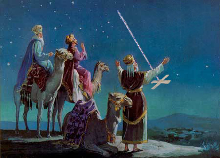 Here, the Three Wise Men prepare to engage in feats of strength.
