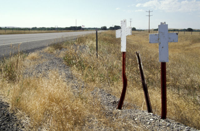 The wide-open roads of Montana aren't immune to the dangers of texting and driving. This is in Pondera County nearHighway 89.