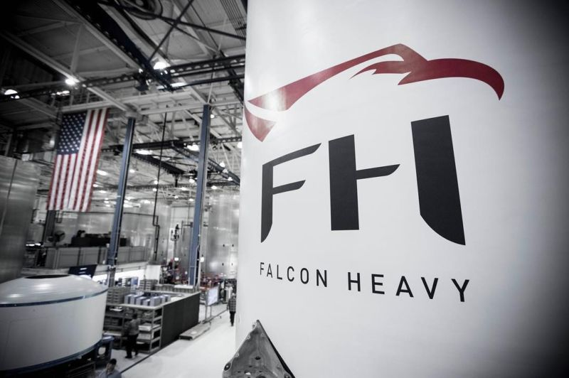 SpaceX has released the first image of its Falcon Heavy rocket.