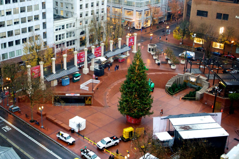 Pioneer Courthouse Square in Portland, Oregon, was the site of an attempted bombing on November 27, 2010.