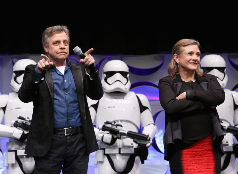 Actors Mark Hamill and Carrie Fisher speak onstage during <i>Star Wars</i> Celebration on April 16, 2015 in Anaheim, California.