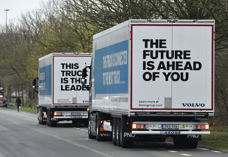 Semi-automated trucks are driven on the E19 highway in Vilvoorde, Belgium, on April 5, 2016 as part of the 'EU Truck Platooning Challenge 2016.'