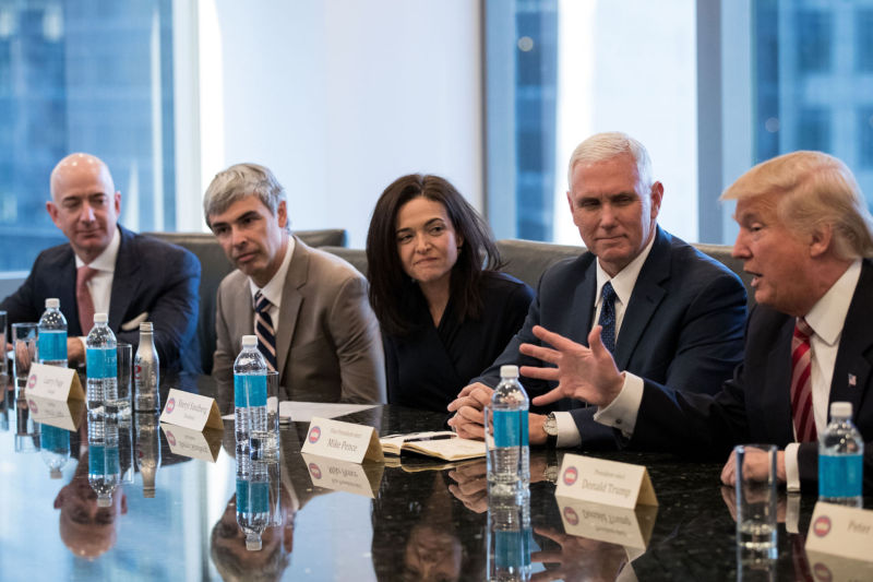 President-Elect Donald Trump and his team met with high-profile Silicon Valley execs in New York City today. Pictured are Amazon CEO Jeff Bezos, Alphabet CEO Larry Page, and Facebook COO Sheryl Sandberg alongside Trump and Vice-President-Elect Mike Pence.