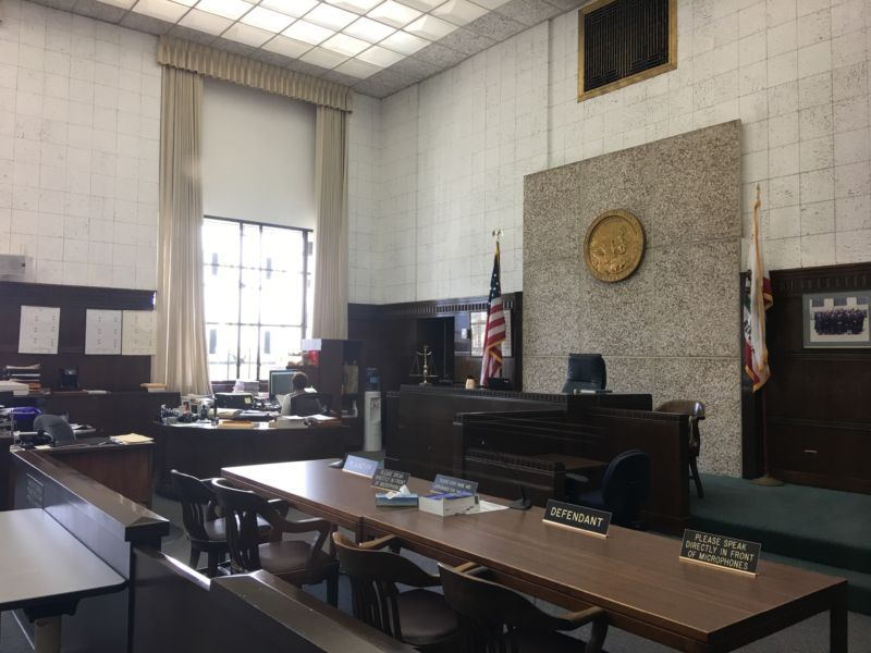 Courtroom 1 in the René Davidson Courthouse, part of the Alameda County Superior Court in Oakland, California.