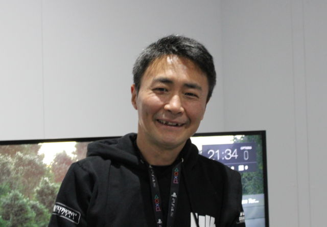 Gran Turismo's chief producer, Kazunori Yamauchi, sporting a new GT-themed hoodie at PSX.