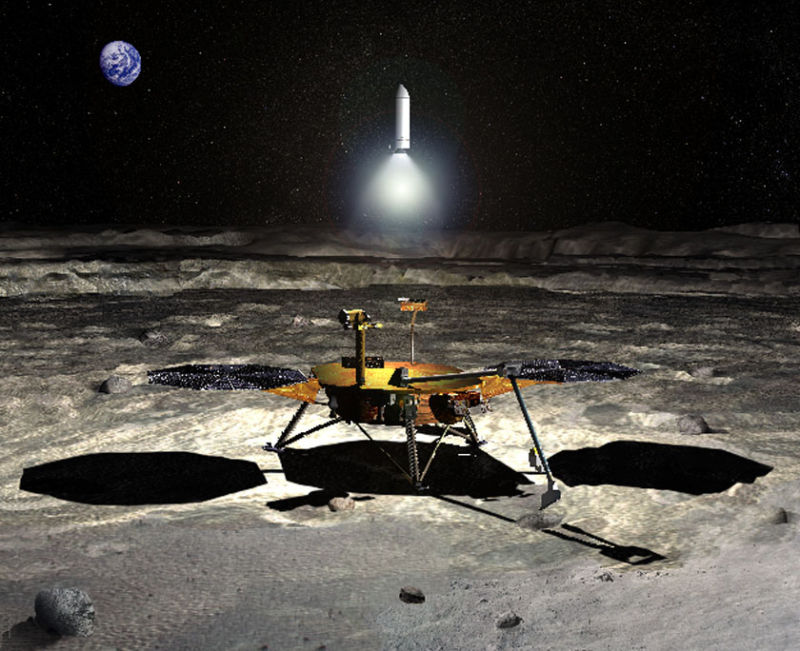 An artist's conception of a mission to return a sample from the South Pole of the Moon.