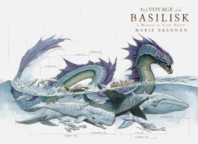 In this cover art from one of the books in Marie Brennan's <em>Natural History of Dragons</em> series, a sea serpent's morphology is compared to other sea creatures.