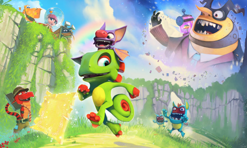Yooka (the lizard) and Laylee (the bat) run around their game's opening level, Tribalstack Tropics.