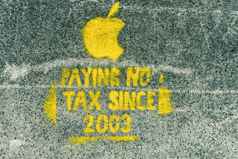 Street art graffiti seen in Dublin complaining about Apple avoiding tax payments in the European Union.