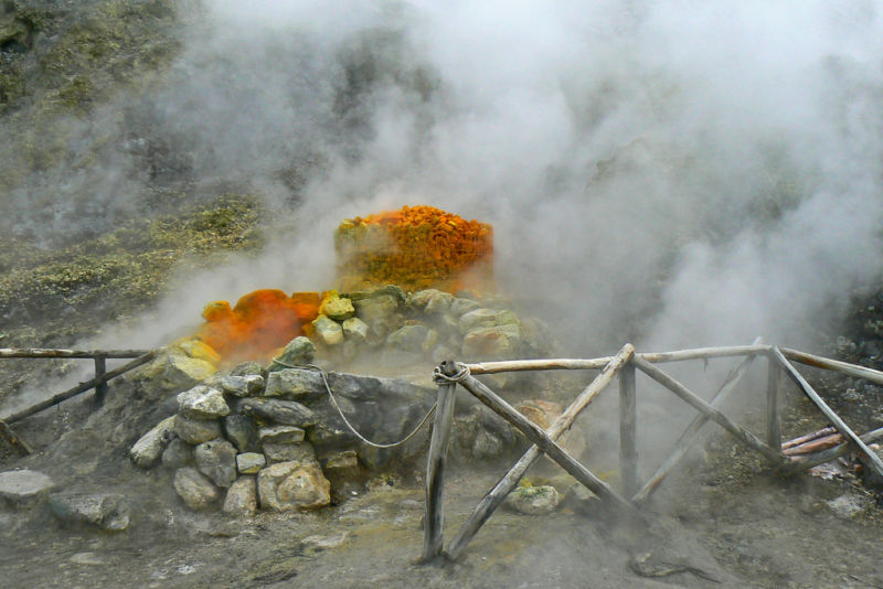 Sulfurous gases leak from a fumarole near Naples, Italy.