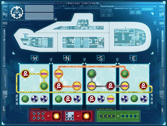 The engineering map. On each move, one of the symbols on the lower half of the board must be crossed out, disabling that ship system.