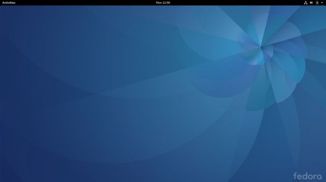 The stock Fedora 25 desktop with GNOME 3.22.