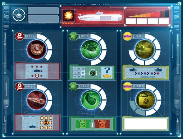 "The first mate's map. On each turn, the first mate can ""charge"" one system. When the charge counters are full, the system can be used."