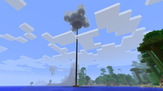 Standard <em>Minecraft</em> laughs at physics, as seen here with Arsian Cogwheel's flying castle (under construction).
