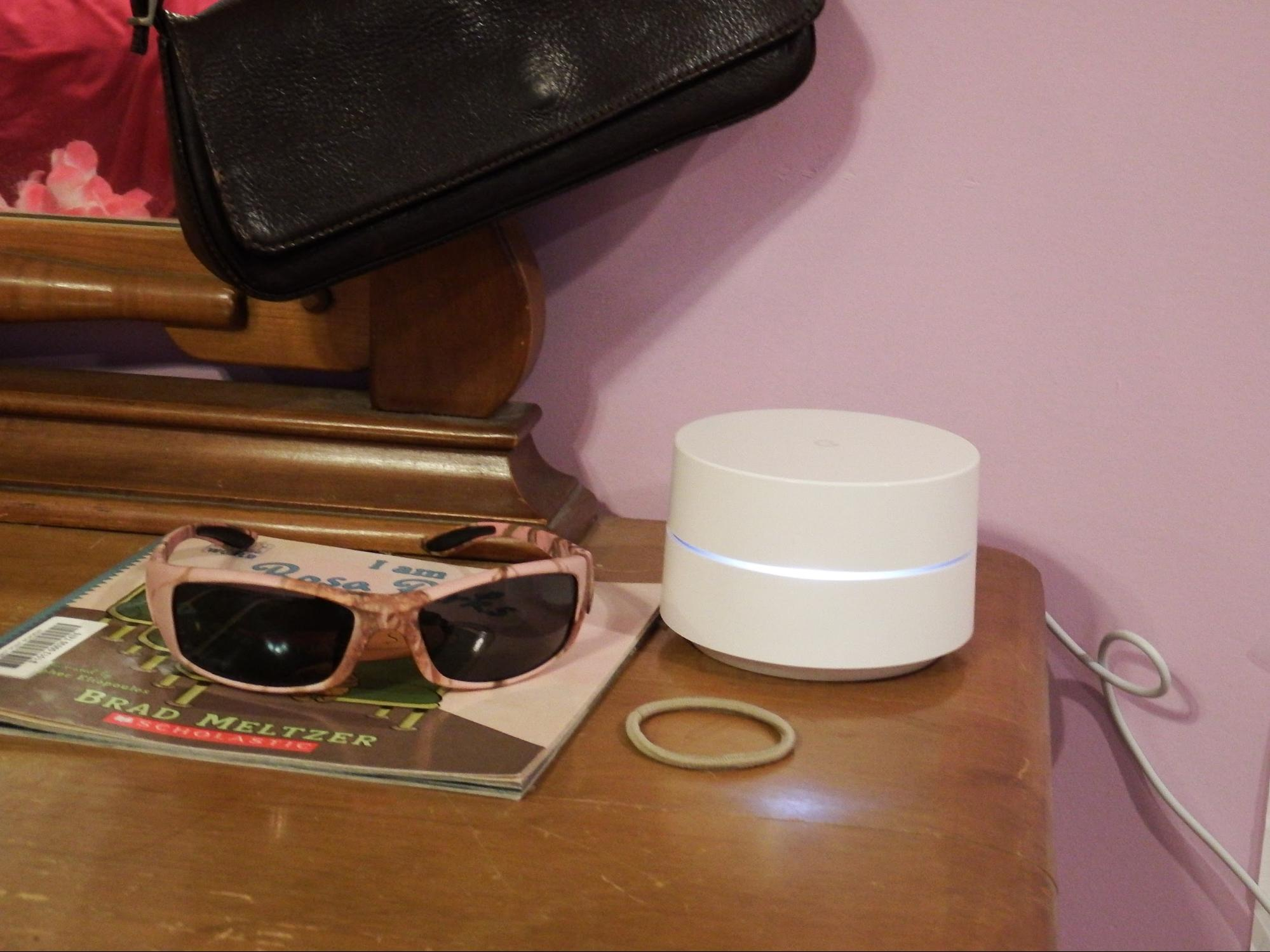 Why does that makeup jar have a glowing light and a power cord? … Oh. Hello, Google Wifi.