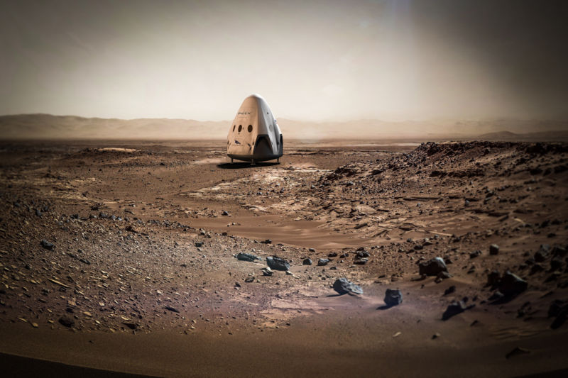 A SpaceX concept image for a Red Dragon on Mars.