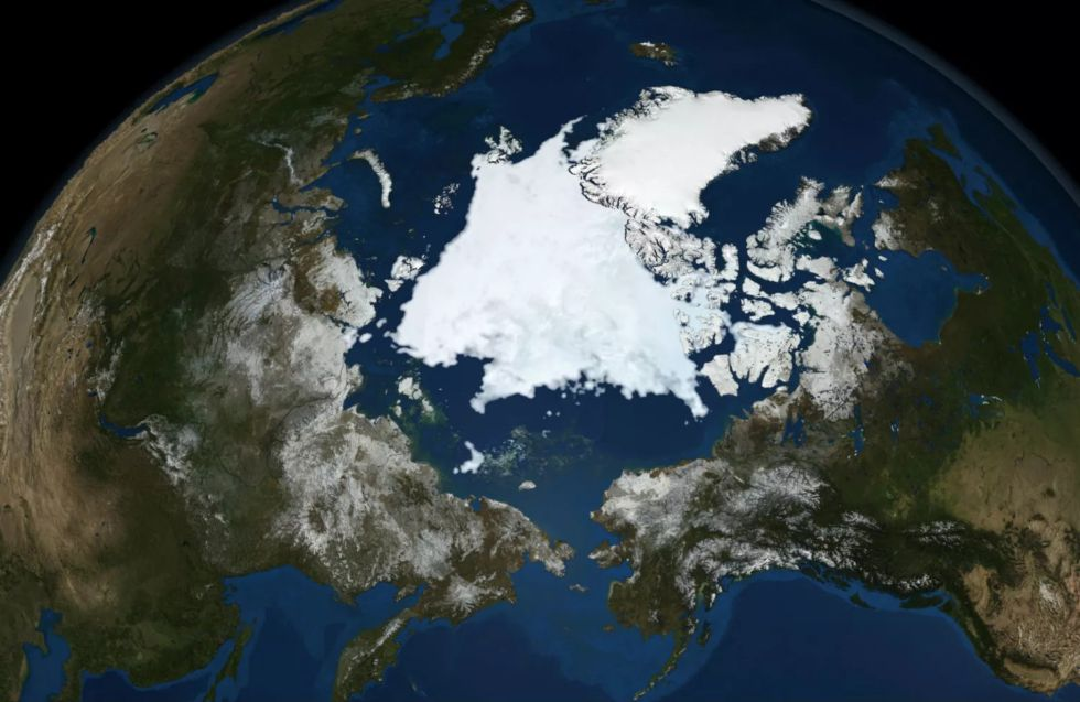 This modern satellite image of the North Pole, alas, shows no giant hole.