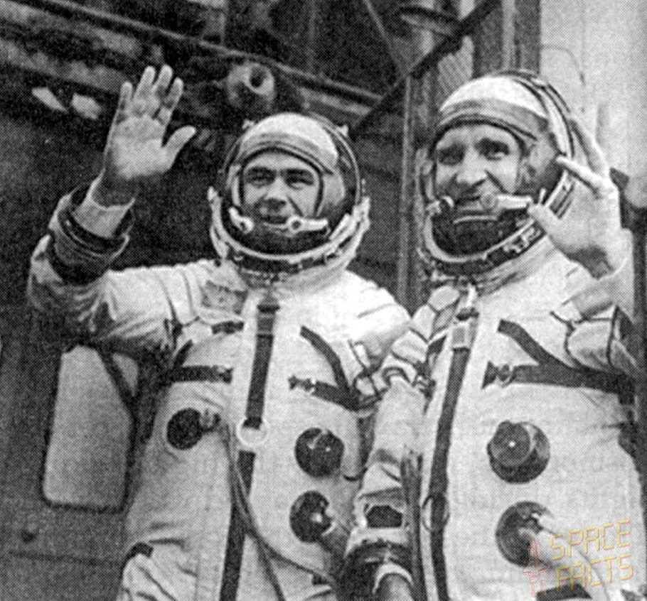 The crew of Soyuz 18A. Lazarev is at left, and Makarov at right.