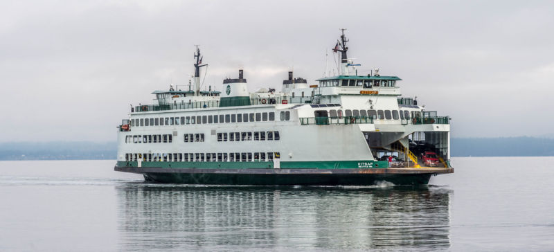 Mark Raden was on board the Washington State Ferry Kitsap (pictured) when he fired the laser in October 2015.