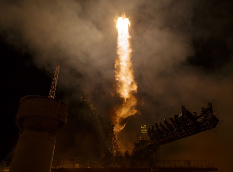 The Soyuz MS-03 spacecraft launches from the Baikonur Cosmodrome with NASA astronaut Peggy Whitson, Russian cosmonaut Oleg Novitskiy of Roscosmos, and ESA astronaut Thomas Pesquet on board in November.