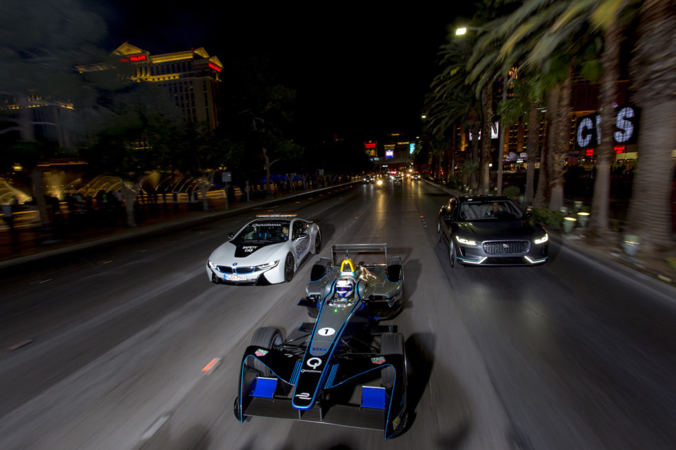 One of Jaguar's Formula E cars on the Las Vegas Strip.