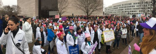 The 500 Women Scientists group at the Women's March on January 21, 2017.