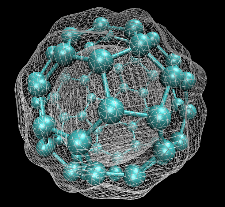 The electrons density of a buckminster fullerene molecule, calculated using density functional theory.