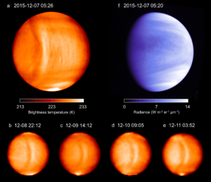 Images from each day of Akatsuki's observation. The images from later days are poorer quality because the spacecraft was getting farther away. The bow-shaped structure can be seen stretching from north to south in white. The blue image is in UV, also by Akatsuki.