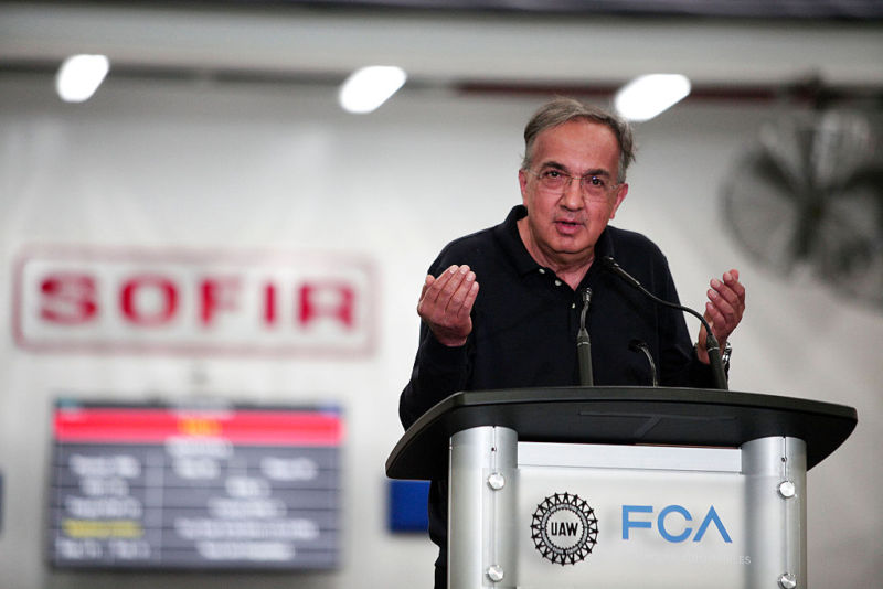 Fiat Chrysler Automobiles CEO Sergio Marchionne speaks at an event in Michigan on August 26, 2016.