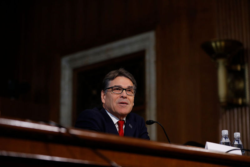 WASHINGTON, DC - JANUARY 19: Former Texas Governor Rick Perry, President-elect Donald Trump's choice as Secretary of Energy, testifies during his confirmation hearing before the Senate Committee on Energy and Natural Resources on Capitol Hill January 19, 2017 in Washington, DC.  (Photo by Aaron P. Bernstein/Getty Images)
