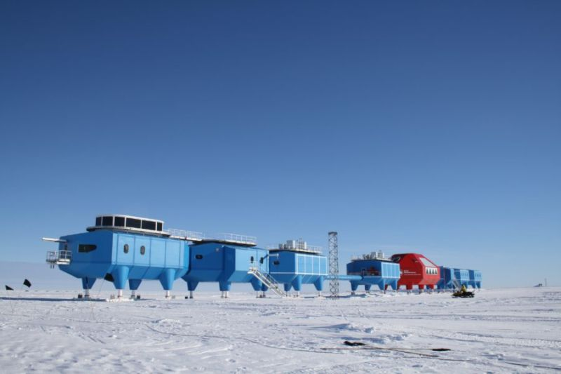 The Halley VI Research Station prior to relocation.