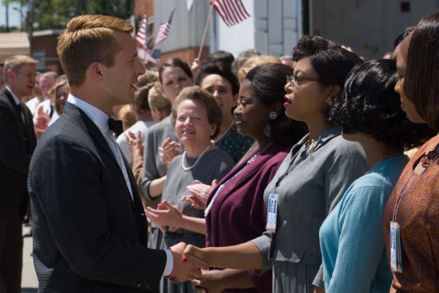 """Johnson and her colleagues from the """"colored computers"""" group meet the charming John Glenn."""