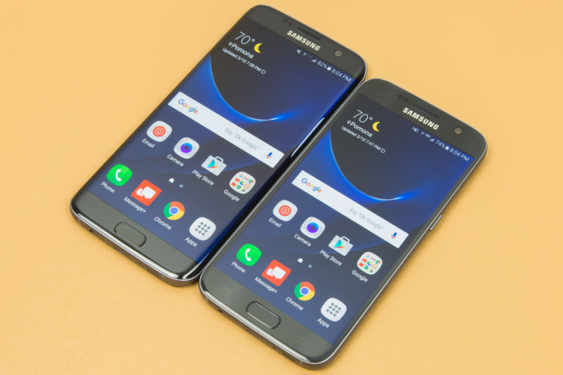 The Samsung Galaxy S7 and S7 Edge, Samsung's most recent (non-exploding) flagship smartphones.